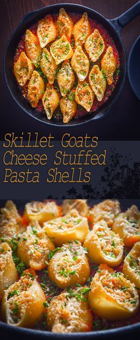 Skillet Goats Cheese Stuffed Pasta Shells Recipe: I love stuffed pasta shells and these glorious treats are stuffed with salami and goats cheese and baked in the oven in a cast iron skillet.