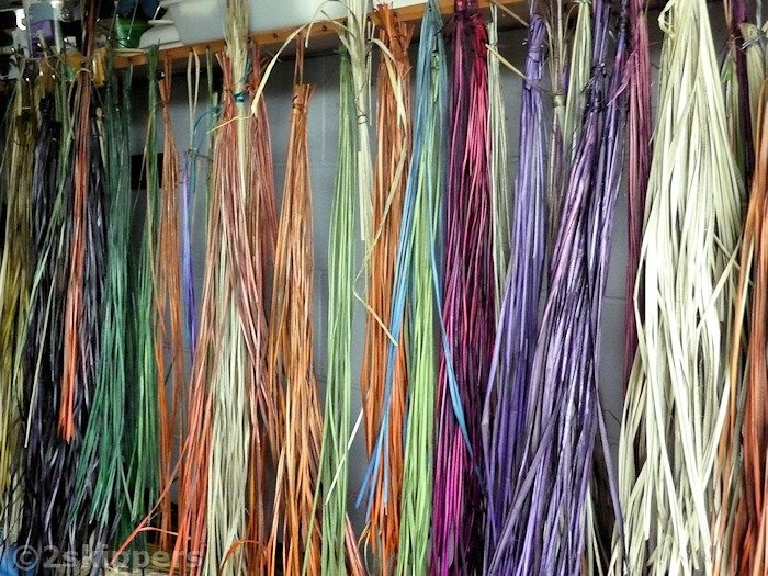 Flax, just coloured, ready for Weaving