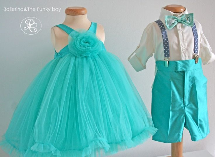"""Elegant dress and suit for babies and toddlers, from our """"Ballerina&The Funky Boy""""  Collection."""