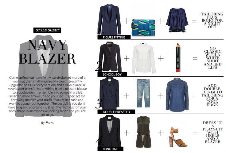 4 new ways to wear a navy blazer   Wardrobe ICONS http://wardrobeicons.com/the-icons-update/style-sheet-navy-blazer/