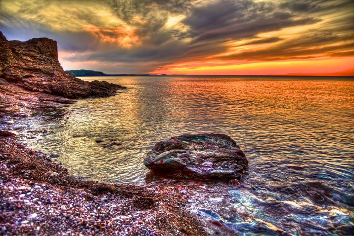 The Sunset at Presque Isle Park in Marquette, Michigan.