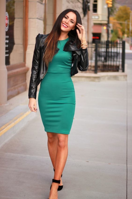 A nicely put together combination of a black leather jacket and teal bodycon dress will set you apart effortlessly. Finish off your look with black suede pumps.   Shop this look on Lookastic: https://lookastic.com/women/looks/black-jacket-teal-bodycon-dress-black-pumps/20356   — Gold Bracelet  — Black Leather Jacket  — Black Suede Pumps  — Teal Bodycon Dress