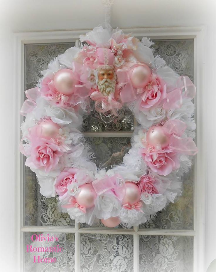 My Stunnning New Pink And White Santa Wreath Made By