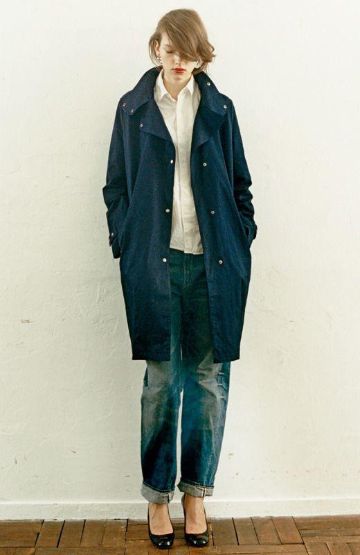 Longer blue coat   Denim / heels