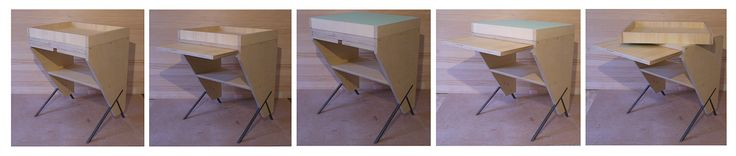 bed cabinet/ Nightstand/  with internal and removable tray on top phenolic wood & iron legs