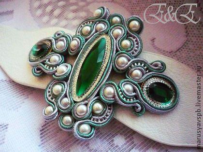 "Браслет ""Emerald-2"" - зелёный,сутаж,сутажная техника,сутажная вышивка"