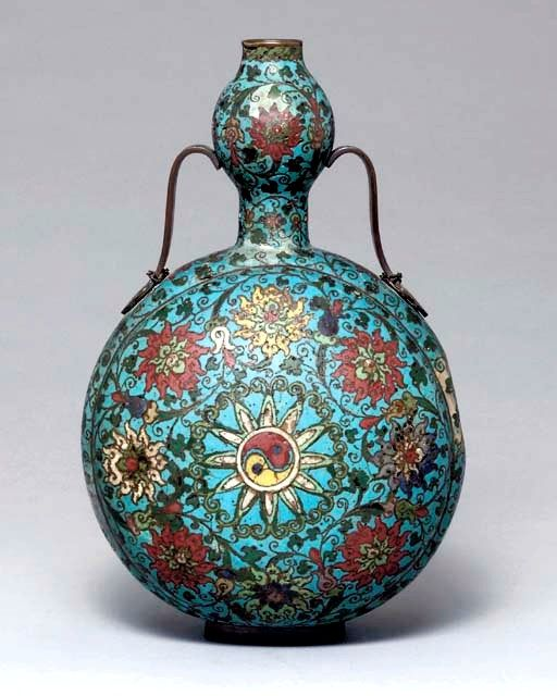 Large Cloisonne Enamel double-gourd Moon Flask, Ming Dynasty, second half 16th century @ Christie's