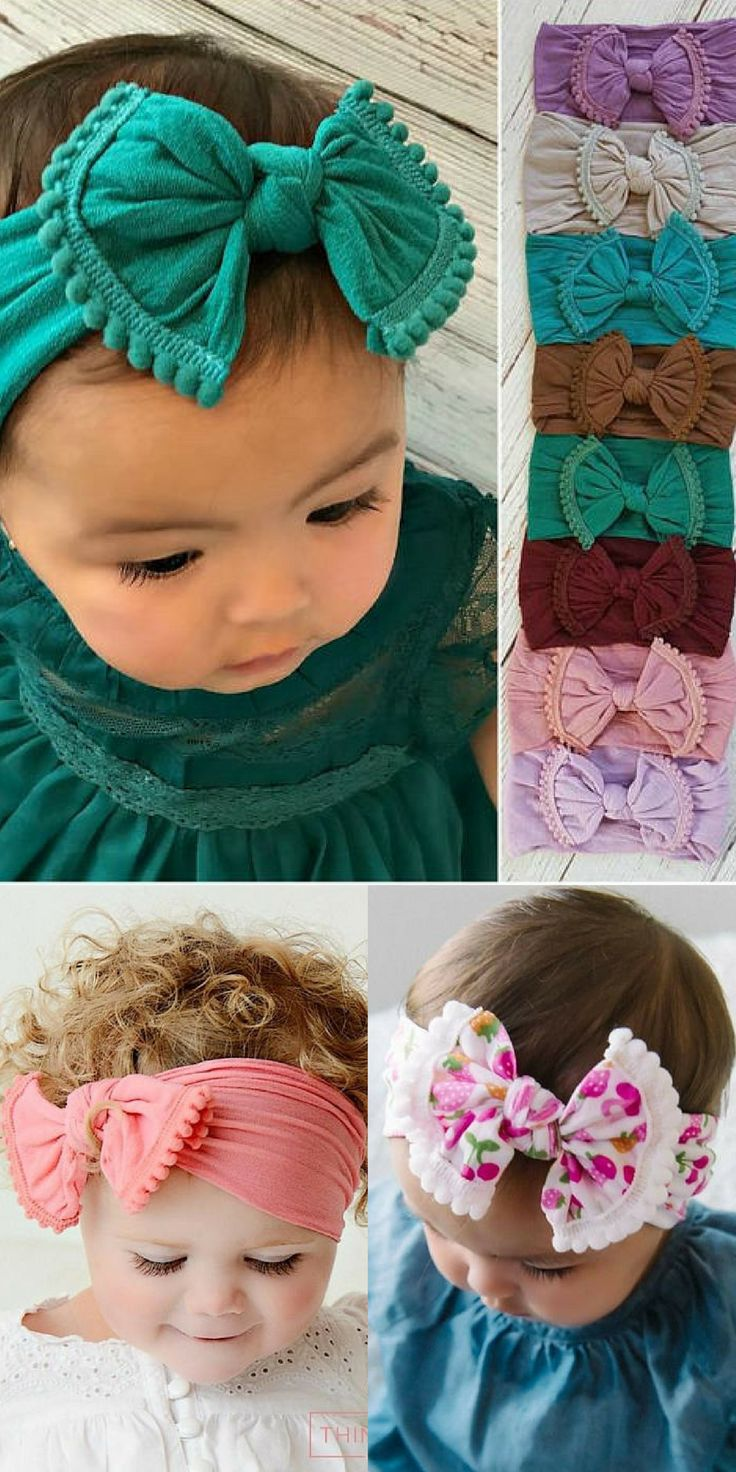 This is an adorable nylon POM POM KNOT headband! The perfect essential bow for any little girl. #affiliate #baby #HEADBAND