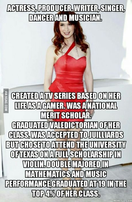 Stolen from another board, this is Felicia Day, and this fails to mention she's friends with Wil Wheaton, Joss Whedon, and the cast of Supernatural... LOVE...