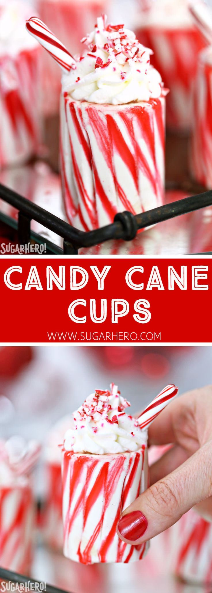 Candy Cane Cups - easy homemade candy cane shot glasses! Fill them with your favorite holiday cocktail or hot chocolate | From http://SugarHero.com