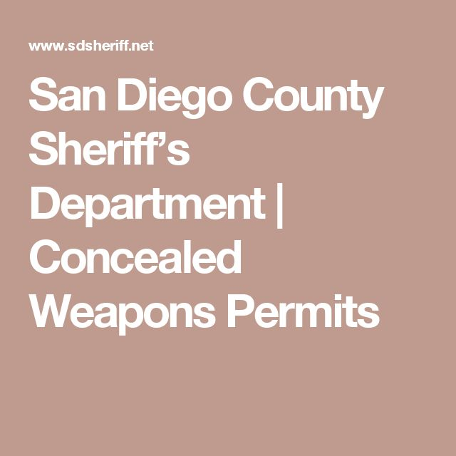 San Diego County Sheriff's Department | Concealed Weapons Permits