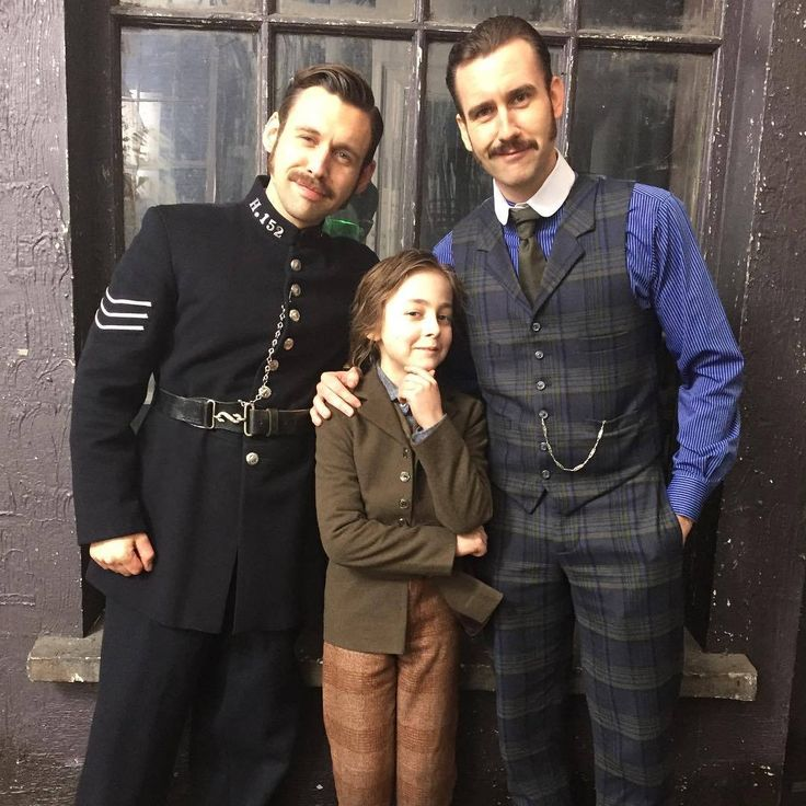 Benjamin O'Mahony, Joseph Harmon and Matthew Lewis on the set of Ripper Street Season 5. Photo by Annemarie Harmon on Instagram.