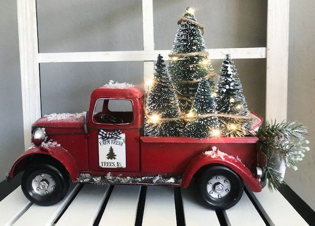 Farmhouse Red Truck Rustic Christmas Tree Bow Farm Truck
