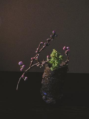自然界では桃は桜の後。桃の節句は旧暦ならではか。花器はサヤ。Peach après les cerisiers en fleurs dans la nature. festival de Peach ou calendrier lunaire unique. Gaine Vase.