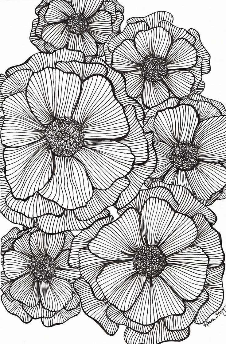 Blackline Blumen – Zentangle