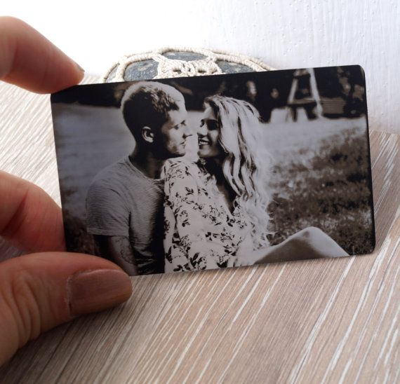 Metal wallet insert card real photo engraved by CorkCountryCottage