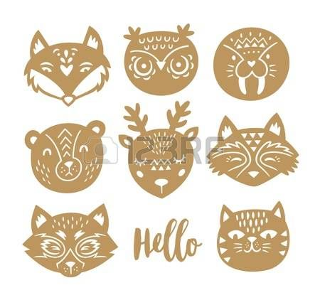 Vector set of paper cut animals - fox, owl, seal, polar bear, deer, raccoon, red panda and cat. Cartoon style. Animal portraits isolated on white background