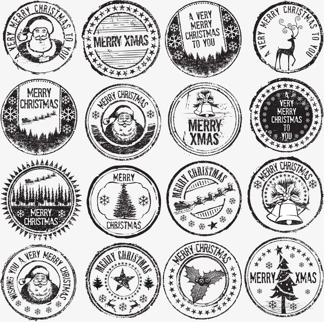 Vintage Christmas Stamp Stamp Clipart Seal Retro Png