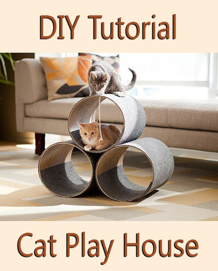 DIY Tutorial Kitty Corner Cat Play House. You can build the purrfect kitty corner cat play house. A concrete form tube and a modest budget translate into...