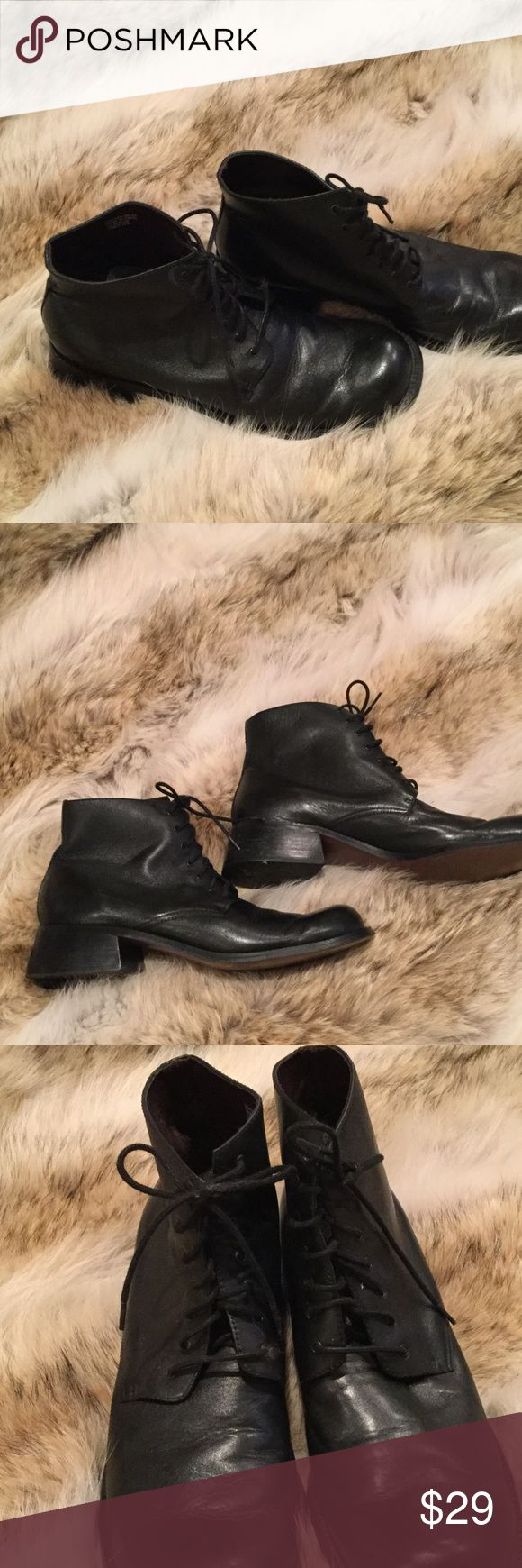 Ladies ankle boots with lace up black. Leather 11 Ladies black leather lace up ankle boots in black. Leather with. One inch heel. Size 11 and worn very lightly . sam and libby Shoes Ankle Boots & Booties
