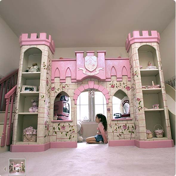 Awesome CASTLE LOFT BED with SLIDE and lots of spacious storage!  Perfect for any little Princess!