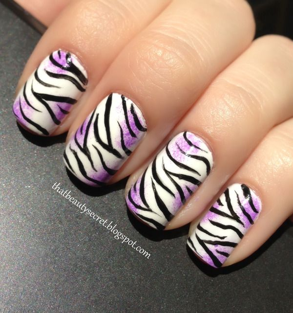 zebra #nails, only I'd do this with hot pink instead of the purple | Nails  | Pinterest | Nails, Nail Art and Nail designs - Zebra #nails, Only I'd Do This With Hot Pink Instead Of The Purple