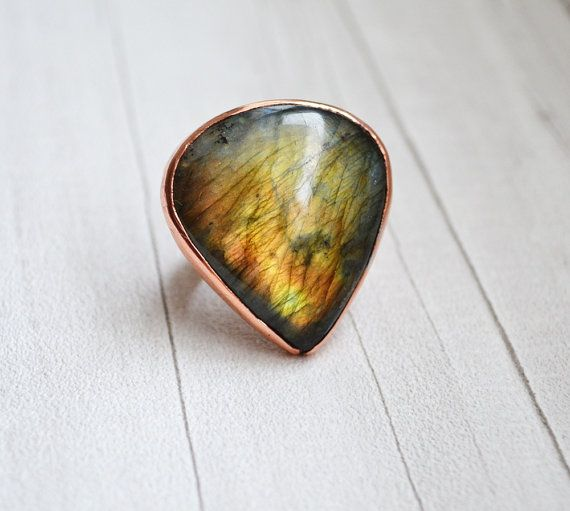 Large Ring Copper Labradorite Stone Boho Ring Unique Ring