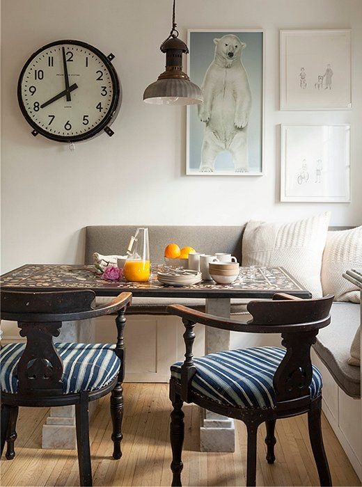 If you go the built-in seating route in the kitchen, consider balancing out those clean lines with an eclectic mix of vintage and antique furnishings to finish off the space. A set of slouchy, cozy pillows can make that bench one of the most inviting seats in the house.