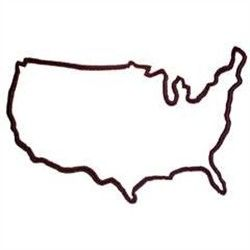 United States outline with a few of my favorite states and symbols outlined within .
