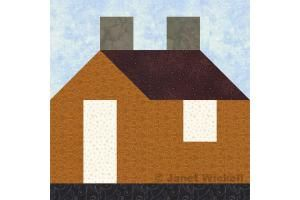 """Try this easy 12"""" House quilt block pattern to stitch patchwork houses. All patchwork is rotary cut and quick pieced -- a breeze to assemble."""