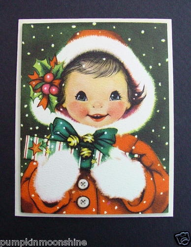 #E492- Vintage Unused Crestwick Christmas Greeting Card Sweet Girl in Red & Gifts | eBay
