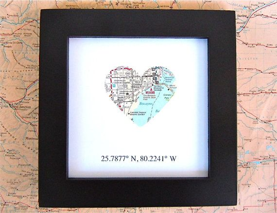 Framed Map With Gps Coordinates Customized 5x5 Frame