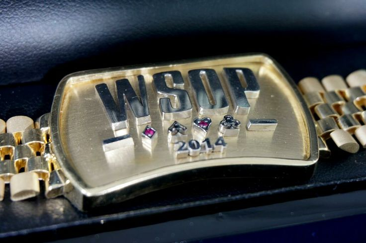 """The 2014 World Series of Poker Bracelet given to each winner of all the bracelet events in this year's WSOP. The """"Main Event"""" and the """"One for One Drop"""" have their own, much fancier bracelets."""