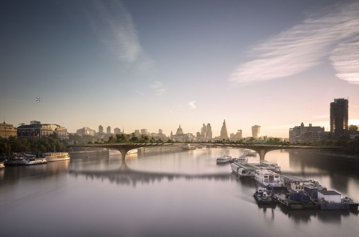 The Garden Bridge is a proposed pedestrian footbridge spanning 1,204 feet across the river Thames in London. Primary funding is expected to come from private donations, with around US$50 million coming from the UK Government. #infrastructure100