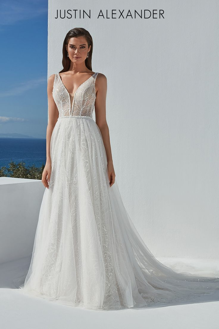 Style Brandy Sparkly A Line Gown Embellished With Sequined Motif Glitter Tulle Justin Alexander Wedding Dresses A Line Wedding Dress Wedding Dress Necklines [ 1104 x 736 Pixel ]