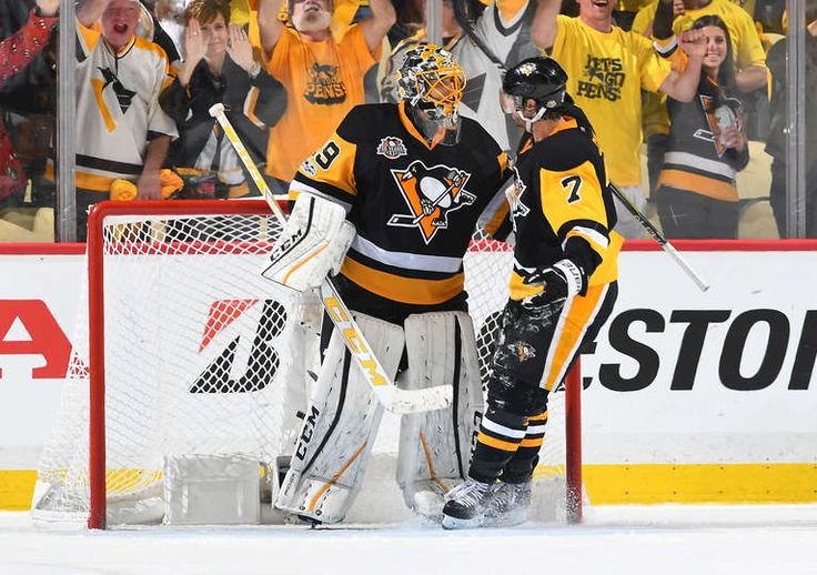 PITTSBURGH, PA - MAY 15: Marc-Andre Fleury #29 with Matt Cullen #7 of the Pittsburgh Penguins after defeating the Ottawa Senators 1-0 in Game Two of the Eastern Conference Final during the 2017 NHL Stanley Cup Playoffs at PPG Paints Arena on May 15, 2017 in Pittsburgh, Pennsylvania. (Photo by Joe Sargent/NHLI via Getty Images)