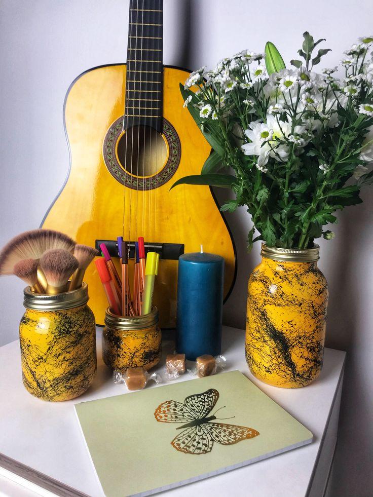Yellow Black Marble Jar Flower Vase Make up Brush