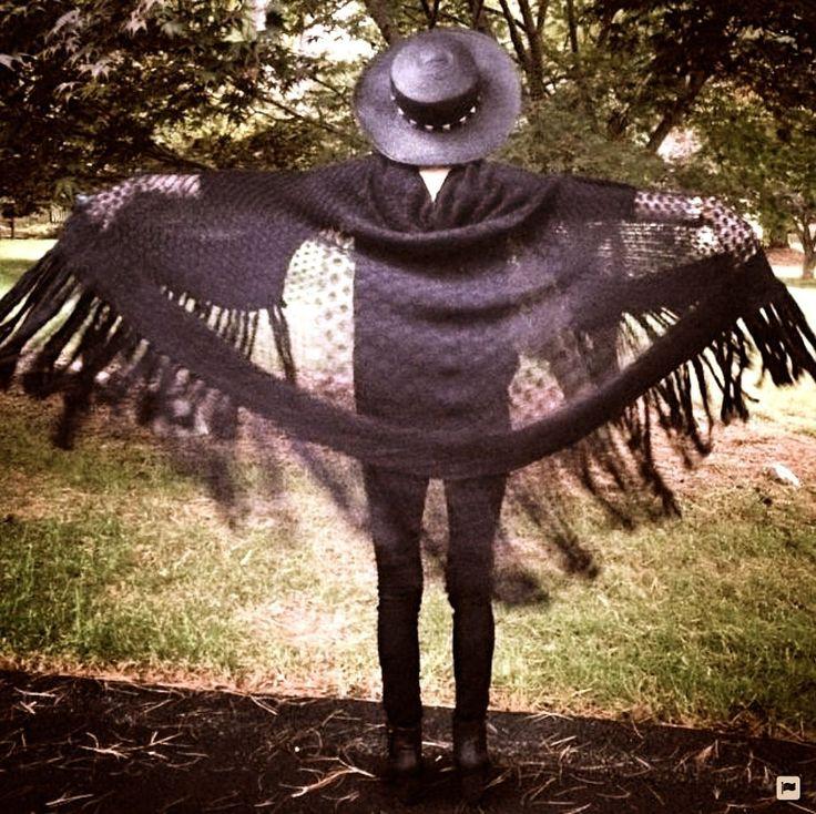 NWT $168 Wildfox Couture black fringe Maxi Garden Shawl Poncho Sweater Cape O/S #WildfoxWhiteLabel #fringedshawl