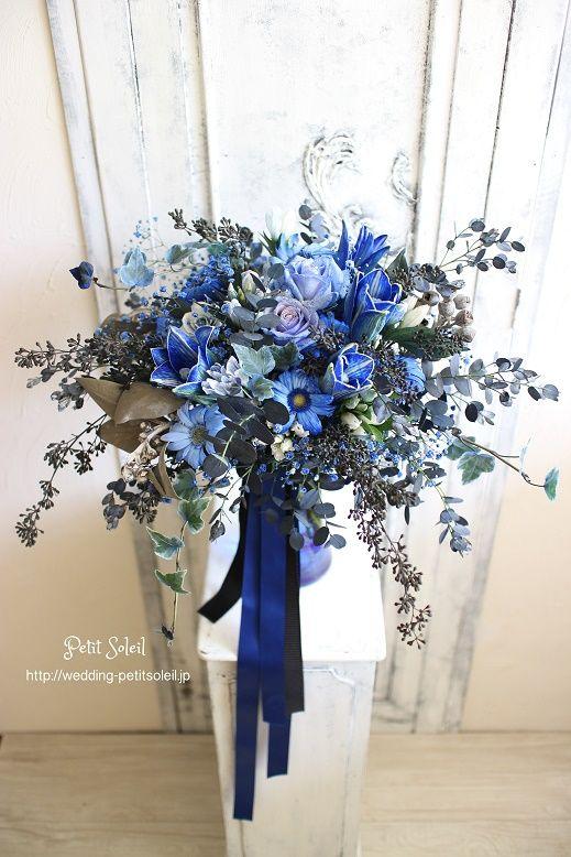 【青い花のブーケ】造花ではなく、生花です。ロイヤルブルーのブーケ。不思議な雰囲気です。☆装花・ブーケのデザインをもっとご覧になりたい方は・・・http://petit-soleil.wix.com/petit-soleil ウェディング会場装花、ブーケのお見積り・お問合せはコチラ会場装花・ブーケのデザイン集はコチラhttp://petit-soleil.wix.com/petit-soleil 「ウェディング会場装花」よく頂く質問はコチラ http://petitsoleil1.blog18.fc2.com/blog...