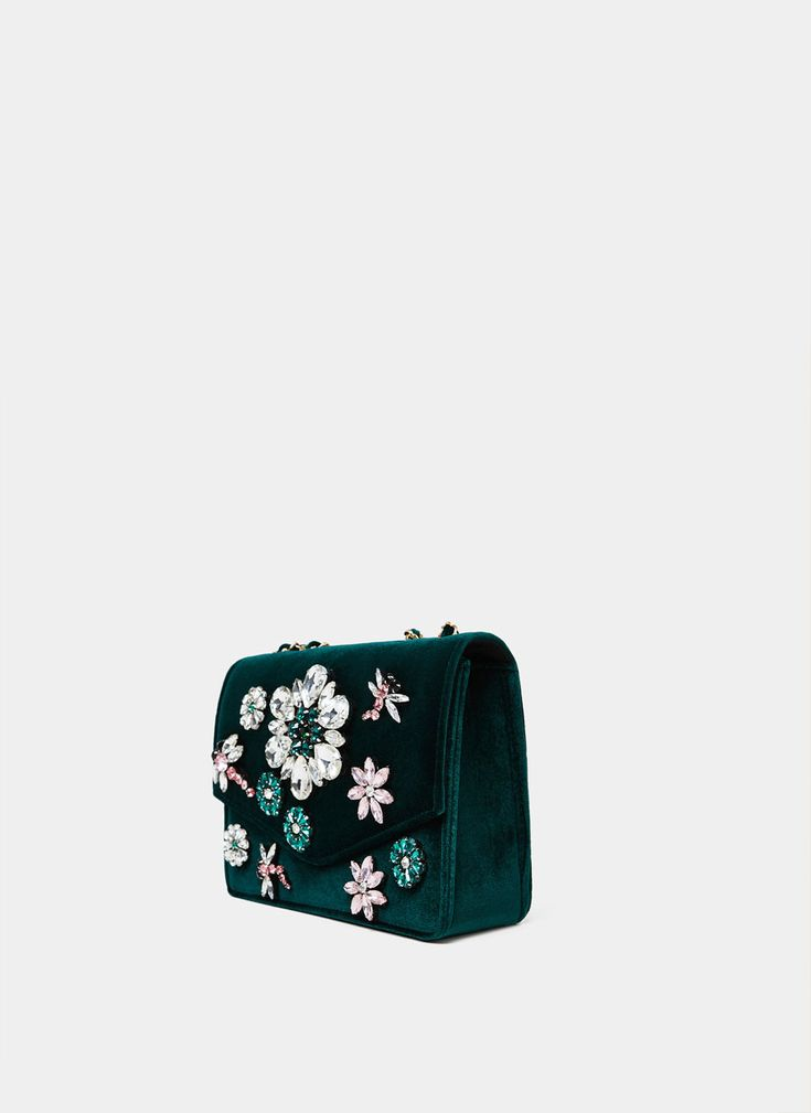 Uterqüe United Kingdom Product Page - New in - View all - Bejewelled velvet bag - 115