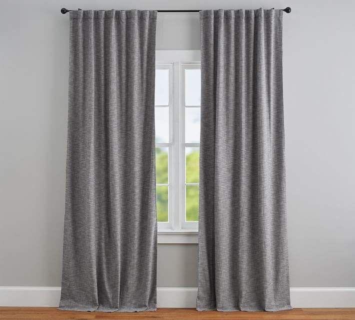 Pottery Barn Seaton Textured Blackout Curtain Gray Grey Blackout Curtains Blackout Curtains Grey Curtains