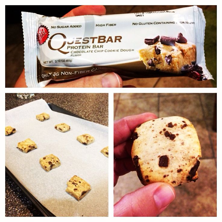 Quest Bar chocolate chip cookies. Cut into 4ths, bake at 350 degrees for 7 mins. Easy, tasty, perfect.