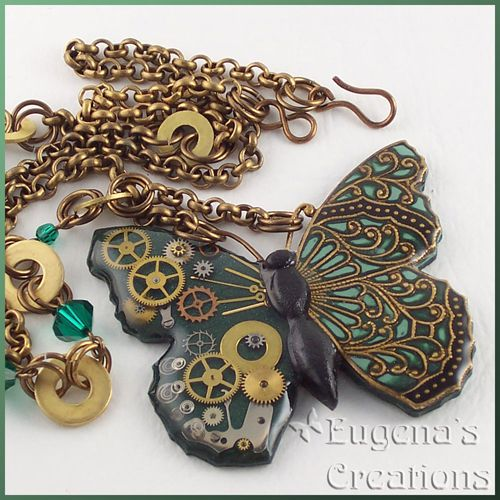 Necklace with a steampunk butterfly, green: Butterflies Necklaces, Polymerclay, Polymer Clay Steampunk, Eugena Topina, Steampunk Jewelry, Resins Steampunk, Steampunk Butterflies, Clay Tutorials, Butterflies Clay