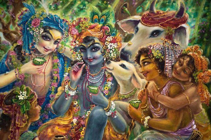 Krsna and Balarāma and the cow heard boys.