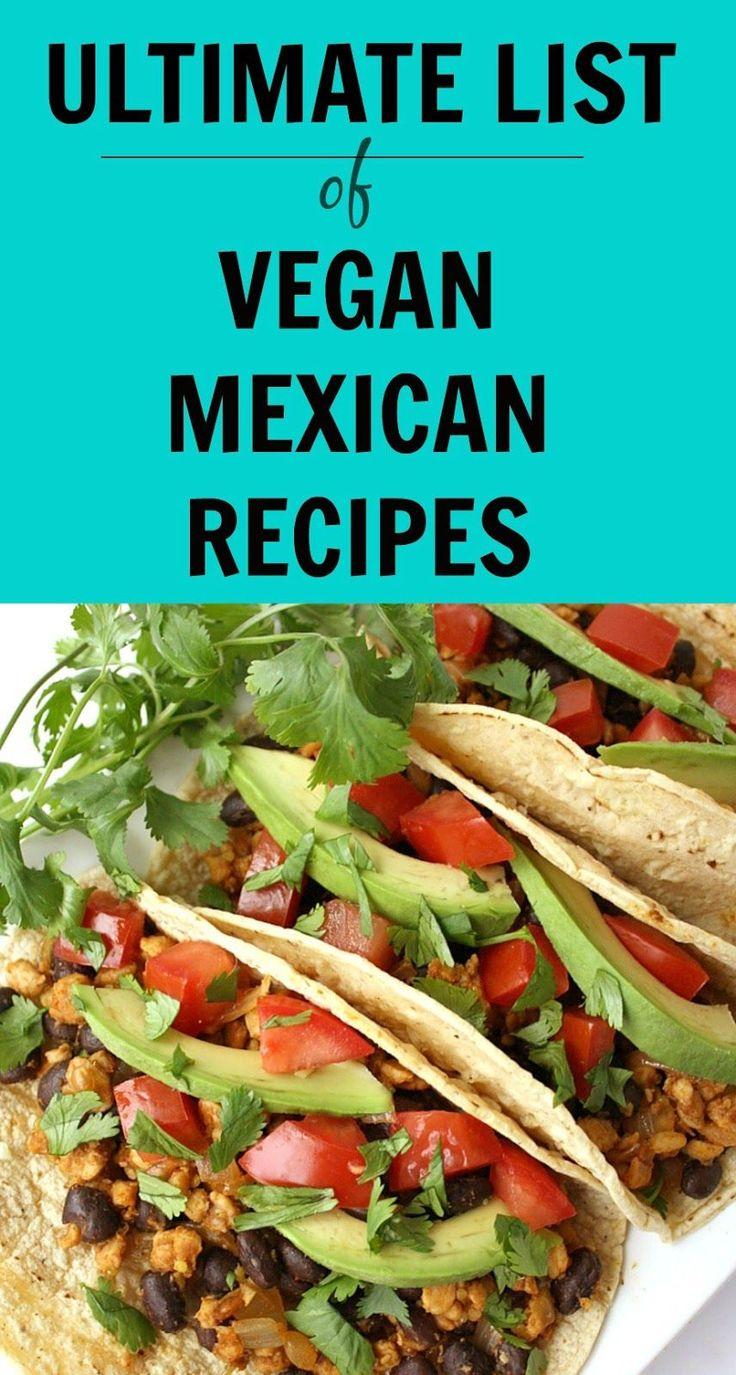 110+ awesome VEGAN Mexican recipes!! Tacos, burritos, enchiladas, fajitas, sauces, dips, and so many more! YUM
