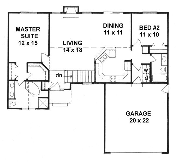 Traditional house plan 62525 traditional house plans for Reverse ranch floor plans