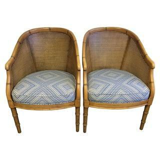 Vintage Cane & Faux Bamboo Chairs - A Pair