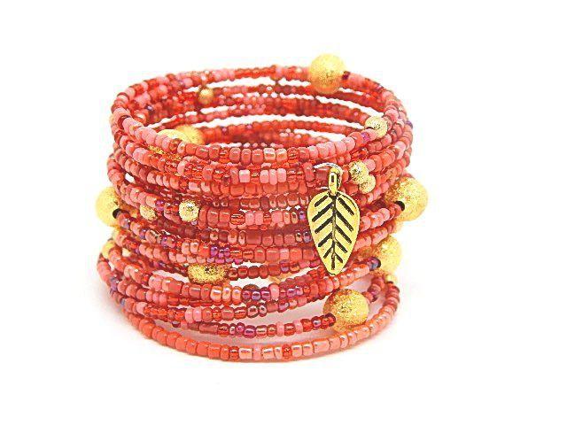 Bracelet manchette multirangs rouge, corail et doré en perles de rocailles