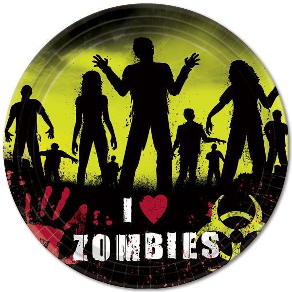 zombie party dinner plates - Zombie Party Supplies
