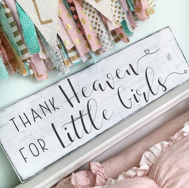 Thank heaven for little girls sign, Little girls sign, Girl's nursery sign, Rustic Nursery sign, Nursery wall art, Baby shower gift - CoastalCraftyMama